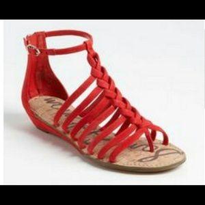 Sam Edelman red suede thong sandals